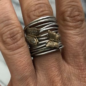 Silver stack ring with gold butterflies